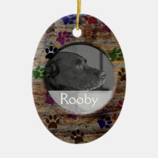 Pet Memorial   Personalized Photo Rustic Paw Print Christmas Ornament