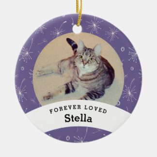 Pet Memorial Personalized Purple Add Your Photo Christmas Ornament