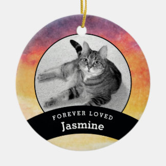 Pet Memorial Personalized Watercolor Add Photo Christmas Ornament