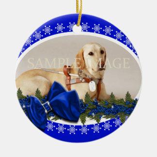 Pet memorial photo PERSONALIZE blue Round Ceramic Decoration
