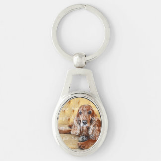 Pet memorial photo PERSONALIZE Silver-Colored Oval Key Ring