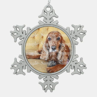 Pet memorial photo PERSONALIZE Snowflake Pewter Christmas Ornament