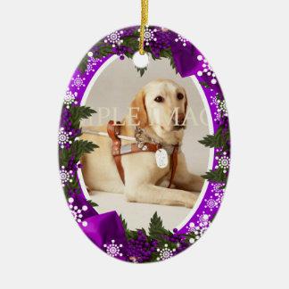 Pet memorial photo purple PERSONALIZE Christmas Ornament