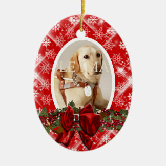 Pet memorial photo red PERSONALIZE Christmas Ornament