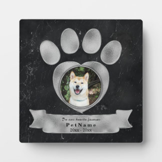 Pet Memorial Tribute Faux Black Marble Silver Paw Plaque