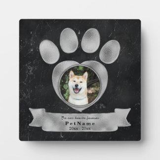 Pet Memorial Tribute Faux Black Marble Silver Paw Plaque