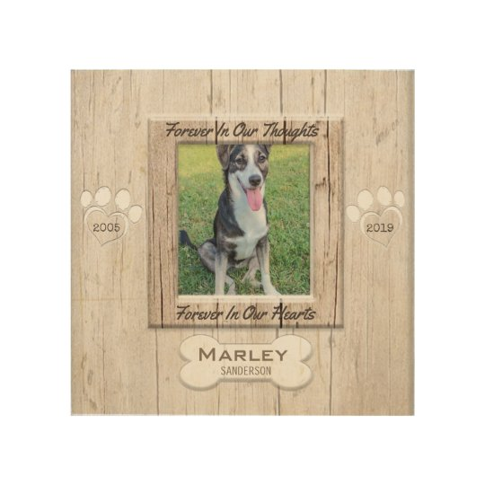 Pet Memorial Wood Look with Paw Prints