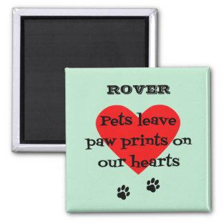 Pet memory custom name paw prints aqua square magnet
