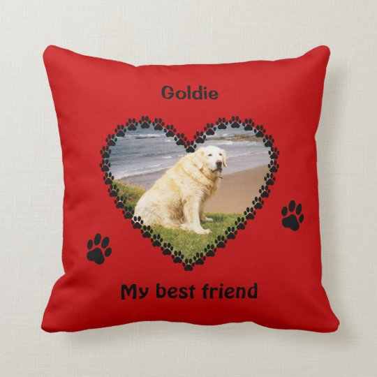 Pet memory paw prints your photo red cushion