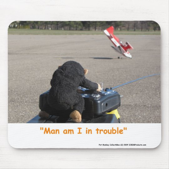 Pet Monkey Crashing Dads RC Plane Mouse Mat