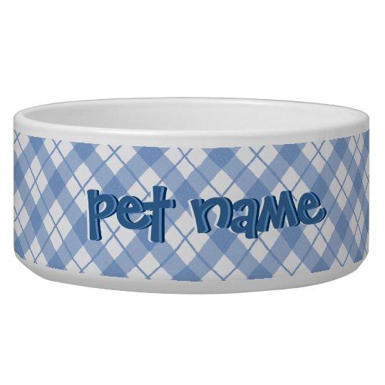 Pet Name Blue Plaid Bowls