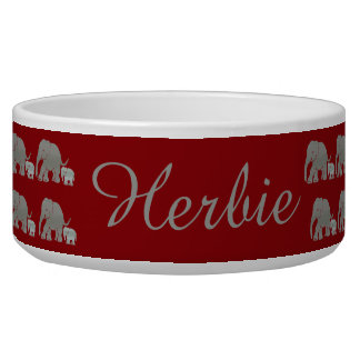 Pet Name Vintage Elephants Parading on Dark Red