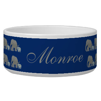 Pet Name Vintage Elephants Parading on Night Blue