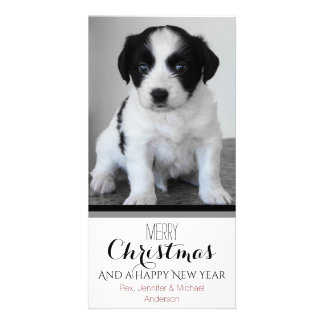 Pet or Puppy Black White Holiday Christmas Card