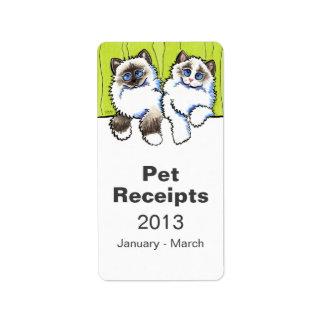 Pet Organization Bin Ragdoll Cats Off-Leash Art™ Address Label