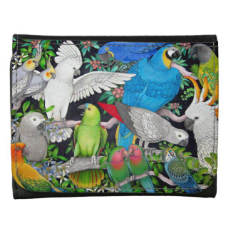 Pet Parrots of the World Leather Wallet