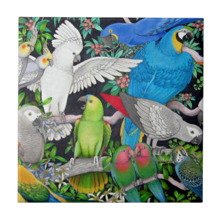 Pet Parrots of the World Tile