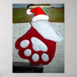 Pet Paw Christmas Stocking Print
