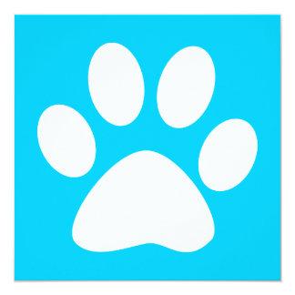 pet paw : color customizable 13 cm x 13 cm square invitation card