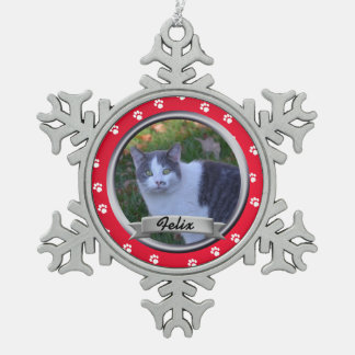 Pet Paw Print Photo Keepsake Snowflake Pewter Christmas Ornament
