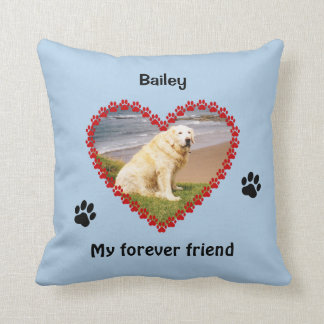 Pet paw prints memorial your photo pillow