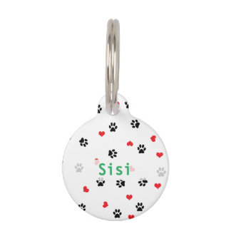 pet paws and hearts pattern pet ID tag
