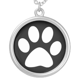 pet paws silver plated necklace