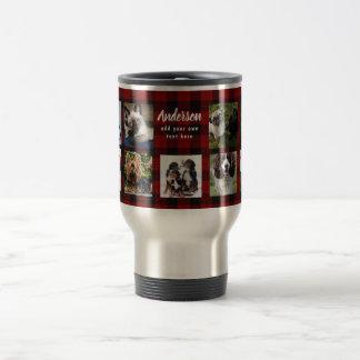 PET PHOTO Collage Gift Cat Dog Horse Red Tartan Travel Mug