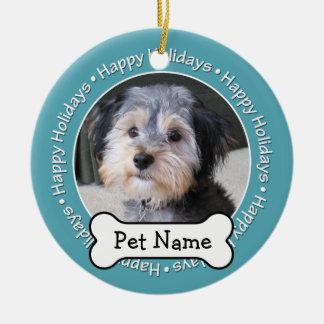 Pet Photo Frame with Dog Bone SINGLE-SIDED Christmas Ornament