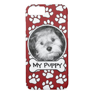 Pet Photo Frame with Paw Prints and Dog Bone iPhone 8/7 Case