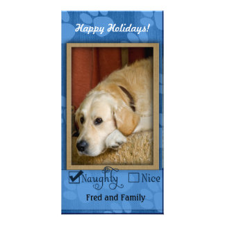 Pet Photo Template - Naughty or nice Customized Photo Card