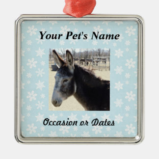 Pet Photo with Blue Snow Background Christmas Ornament