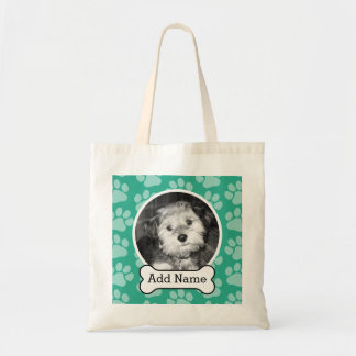Pet Photo with Dog Bone and Paw Prints Green