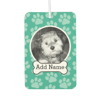Pet Photo with Dog Bone and Paw Prints Green Car Air Freshener