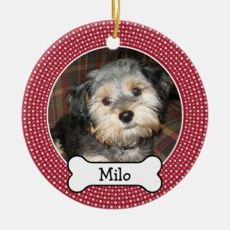 Pet Photo with Dog Bone - Double Sided Round Ceramic Decoration
