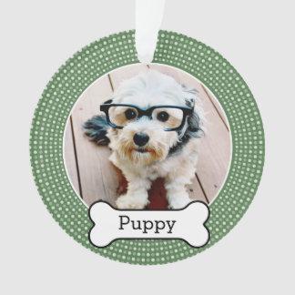 Pet Photo with Dog Bone - green polka dots