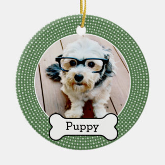Pet Photo with Dog Bone - green polka dots Christmas Ornament