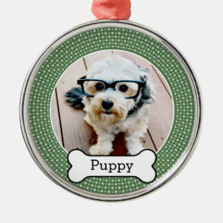 Pet Photo with Dog Bone - green polka dots Silver-Colored Round Decoration