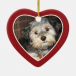 Pet Photo with Dog Bone - Heart Double Sided Ceramic Heart Decoration