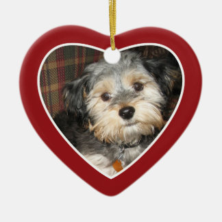 Pet Photo with Dog Bone - Heart Double Sided Christmas Ornament