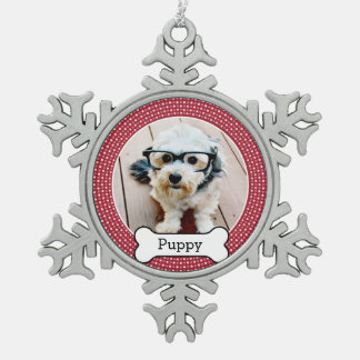 Pet Photo with Dog Bone - red polka dots Snowflake Pewter Christmas Ornament