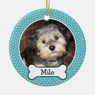 Pet Photo with Dog Bone - Single Sided Christmas Ornament