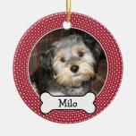 Pet Photo with Dog Bone - Single Sided Christmas Tree Ornaments