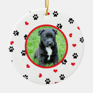 pet photo with paws and hearts pattern round ceramic decoration