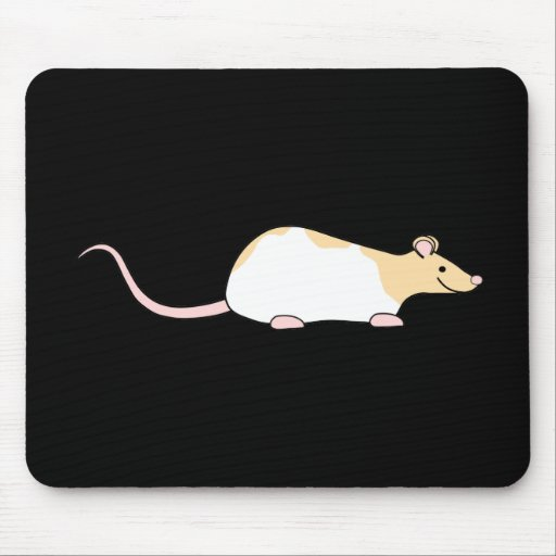 Pet Rat. Fawn and White Hooded Variegated. Mouse Pads