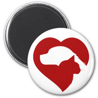 Pet Rescue Cat and Dog Red Heart of Love Magnet