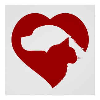 Pet Rescue Cat and Dog Red Heart of Love Poster