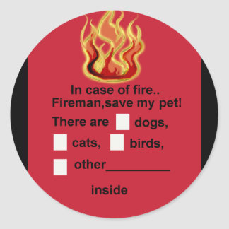 pet safety classic round sticker
