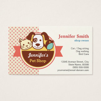 Pet Shop - Cute Polka Dots Business Card