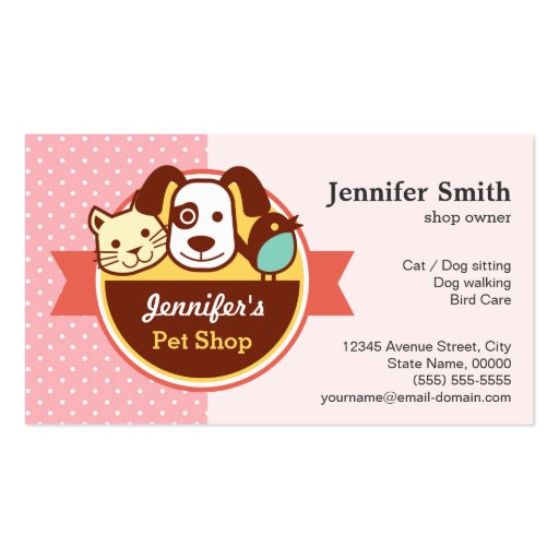 Pet Shop - Pink Polka Dots Business Cards